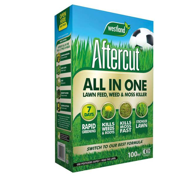 Aftercut All in One Lawn Feed, Weed and Moss Killer