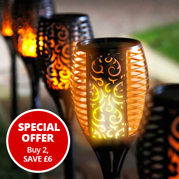 Solar Flickering Flame Torch - 96 LED